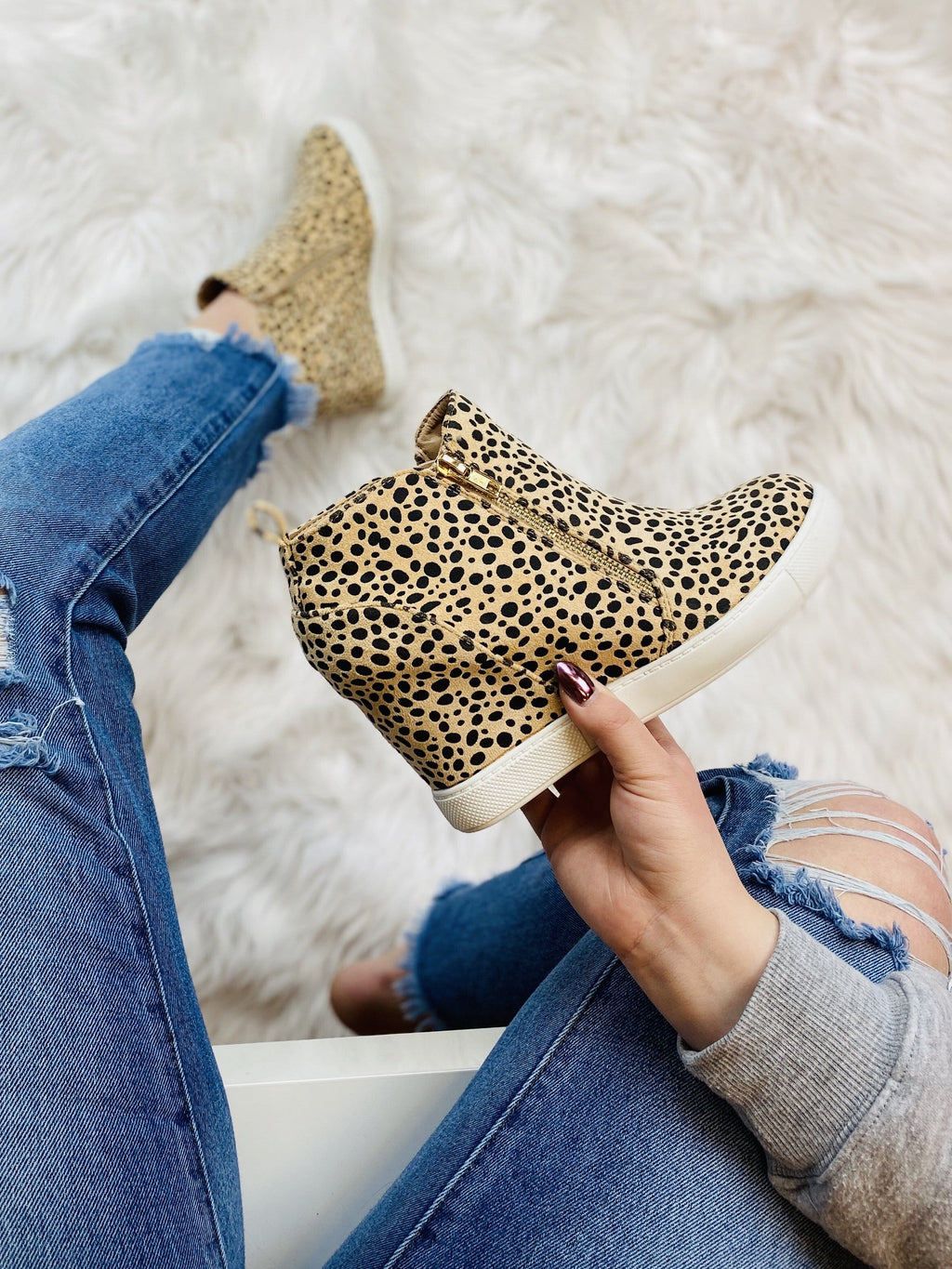 Wedge Sneakers - Cheetah - bigcityboutique