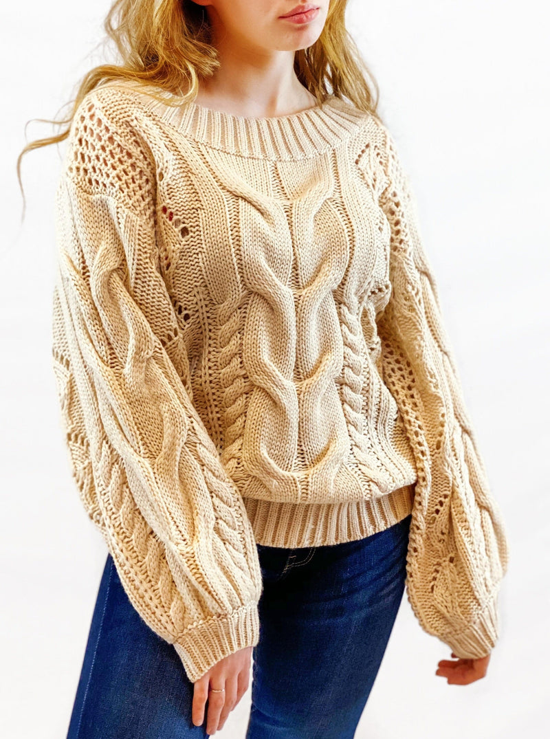 Puff Sleeve Cable Knit Sweater - bigcityboutique