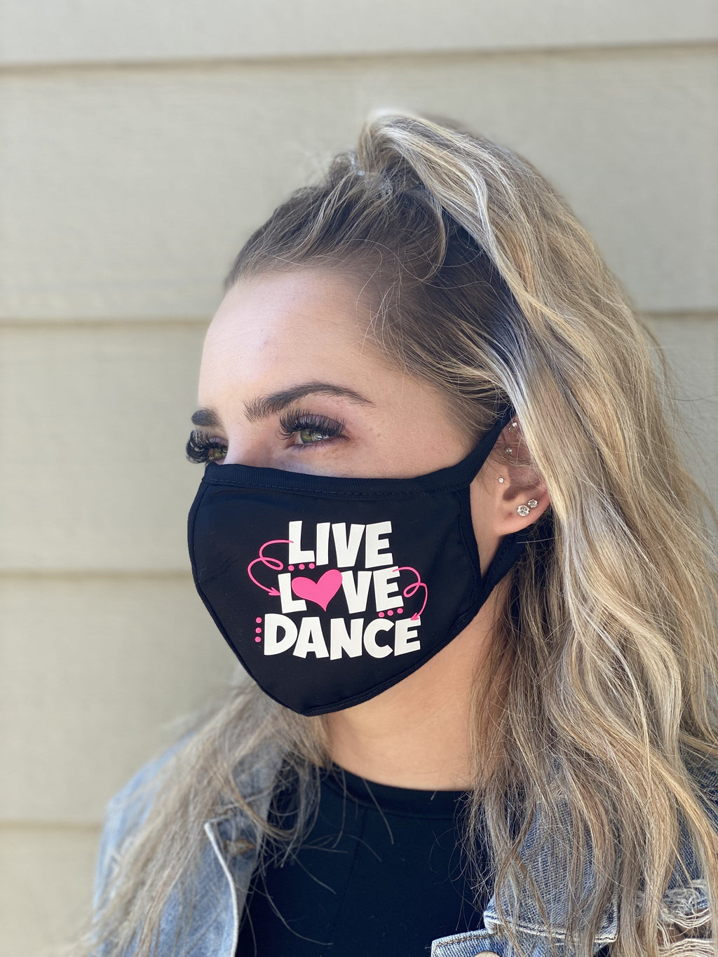 Washable & Reusable Mask - Live Love Dance in white