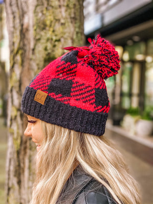 Cuddle Weather Buffalo Print Beanie w Pom - Red/Black