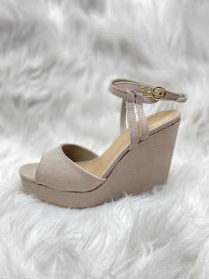 Light Taupe Strappy Wedge Heel