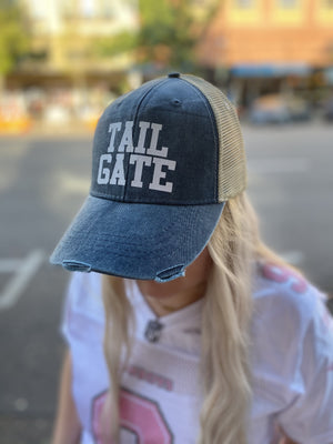 Football Hat - Tailgate - Navy with White Glitter
