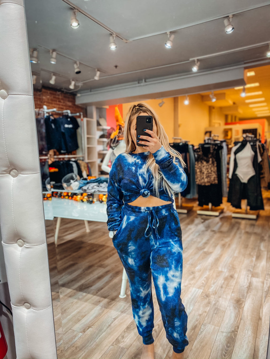 Weekend In Loungewear Set - Electric Blue Tie Dye