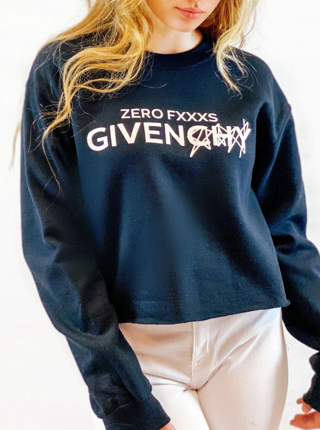 Zero F***s Given Crop Sweatshirt - bigcityboutique