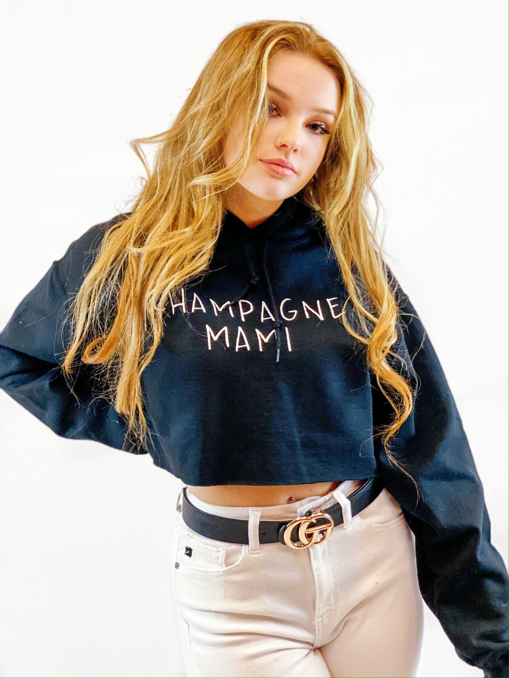 Champagne Mami Crop Hoodie - bigcityboutique