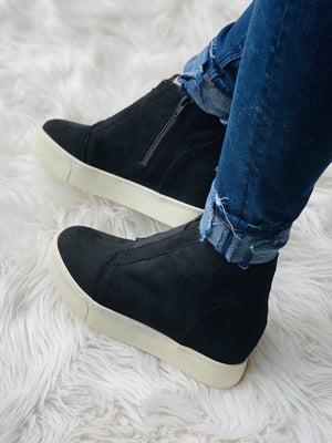 Sassy Wedge Sneaker - Black
