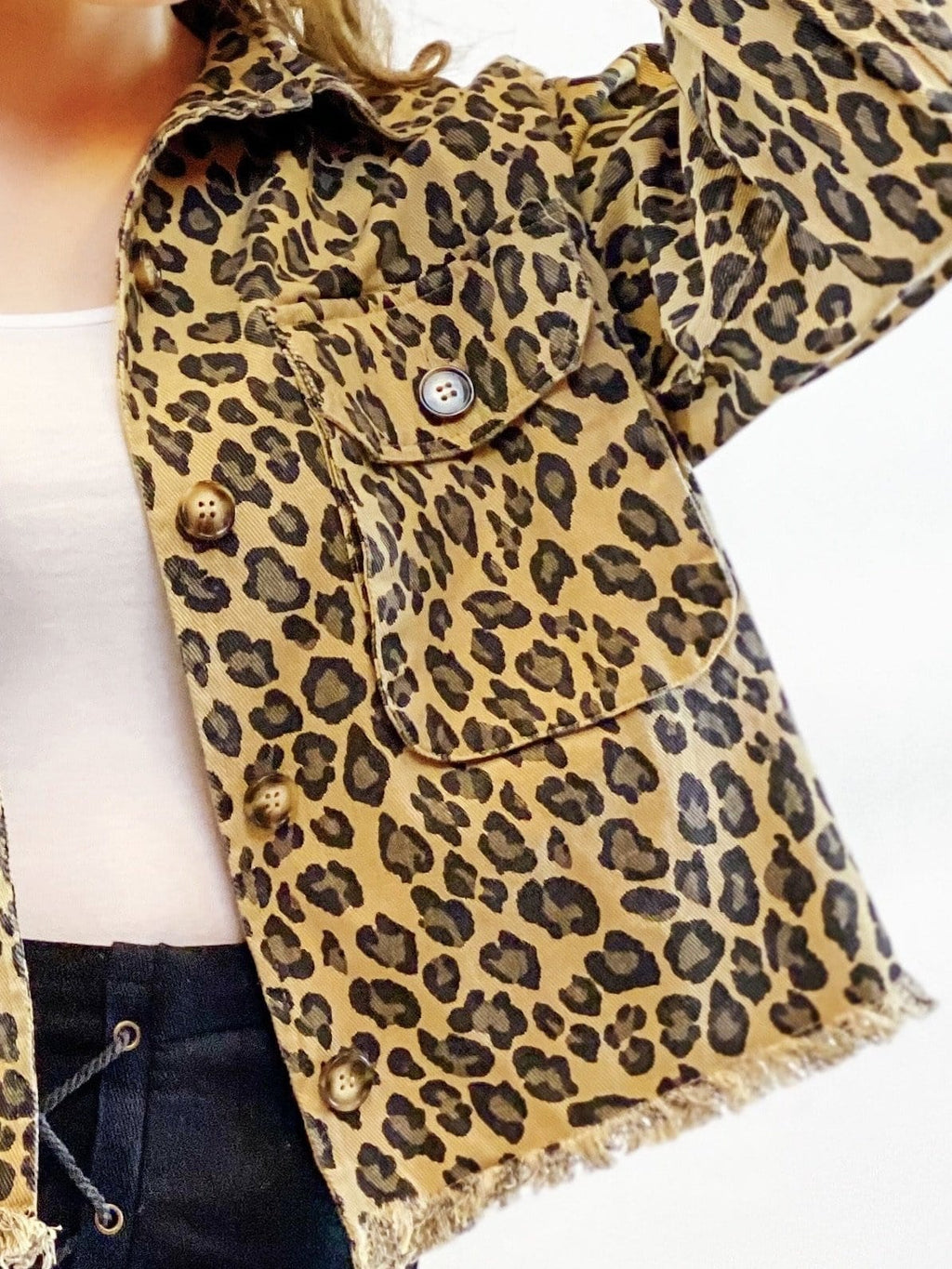 Frayed Leopard Denim Jacket - bigcityboutique