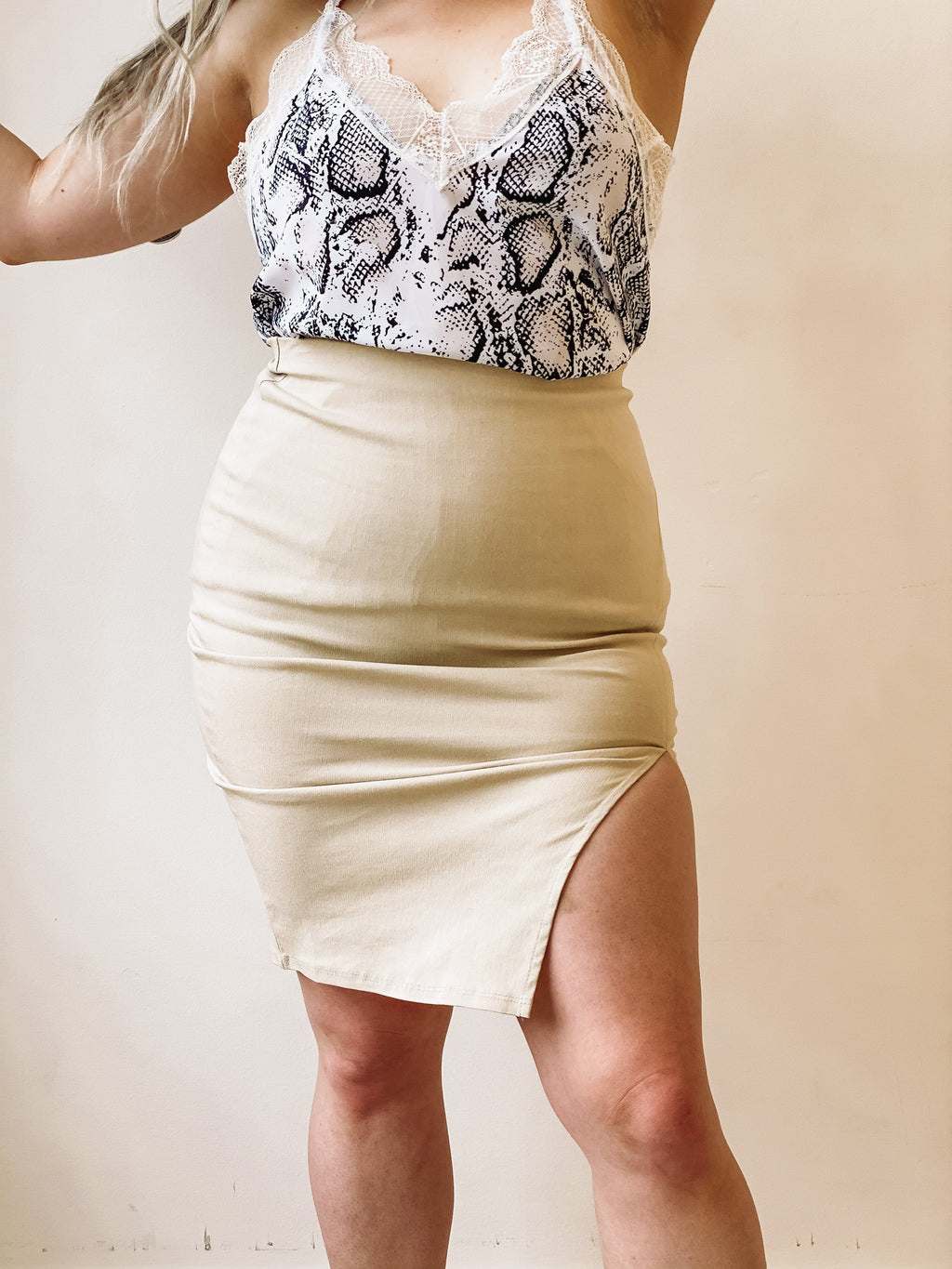 Mad About You Midi Skirt - Sand Khaki