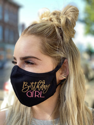 Mask - Birthday Girl (pink and gold glitter)