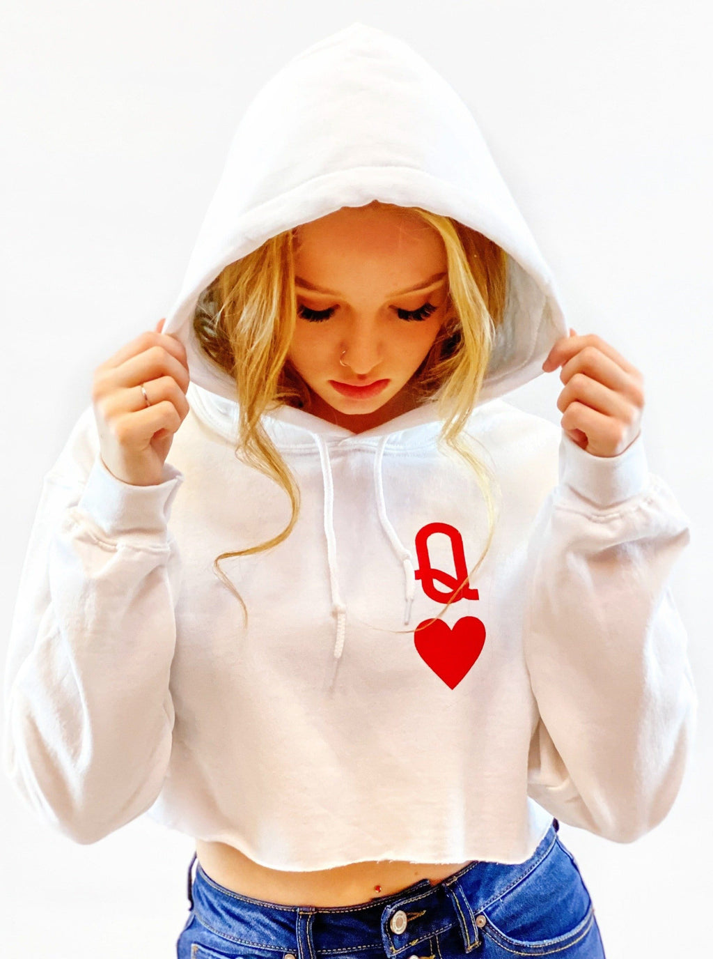 Queen of Hearts Crop Hoodie - bigcityboutique