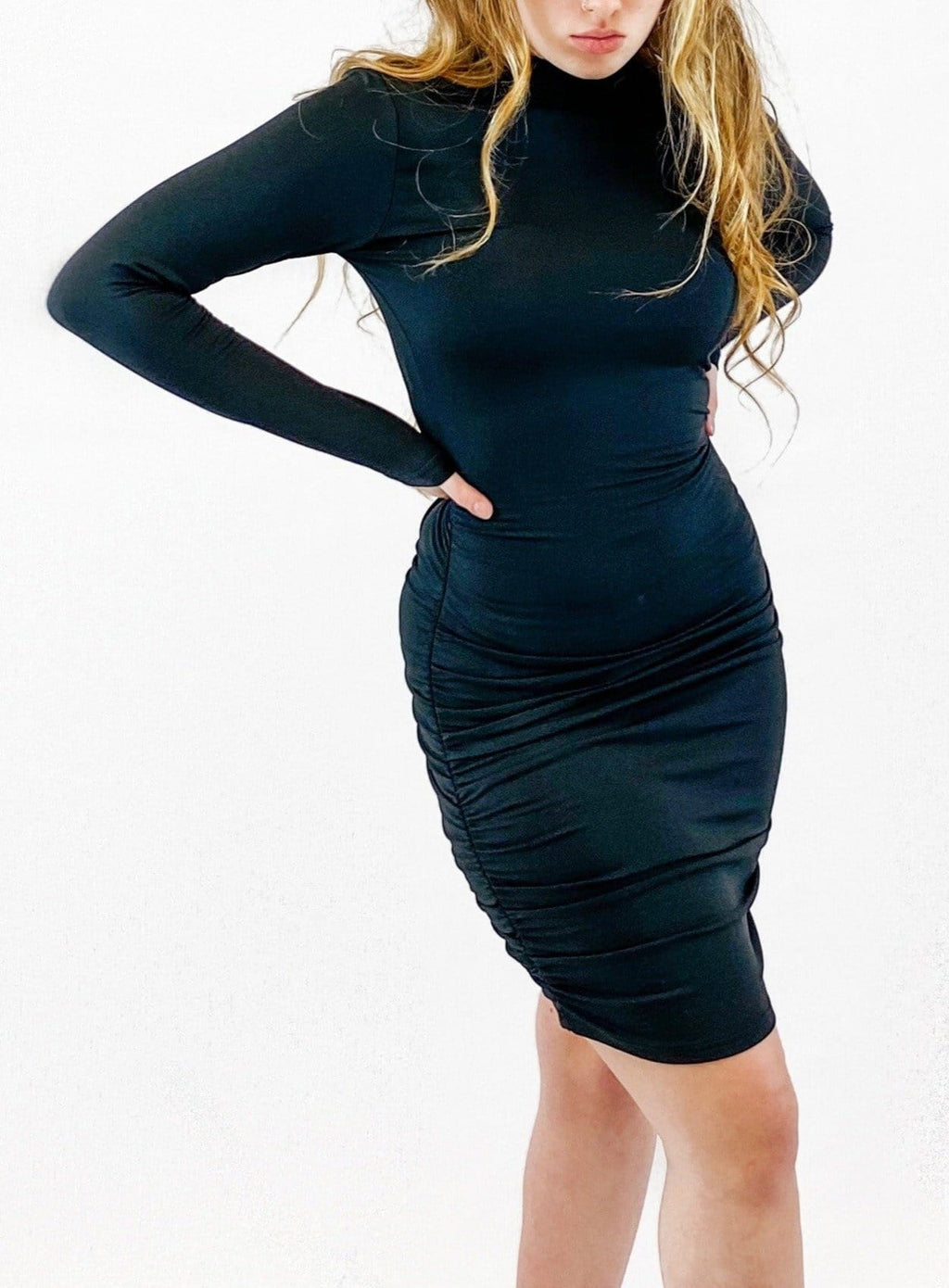 Ruched Bottom Dress - Black - bigcityboutique