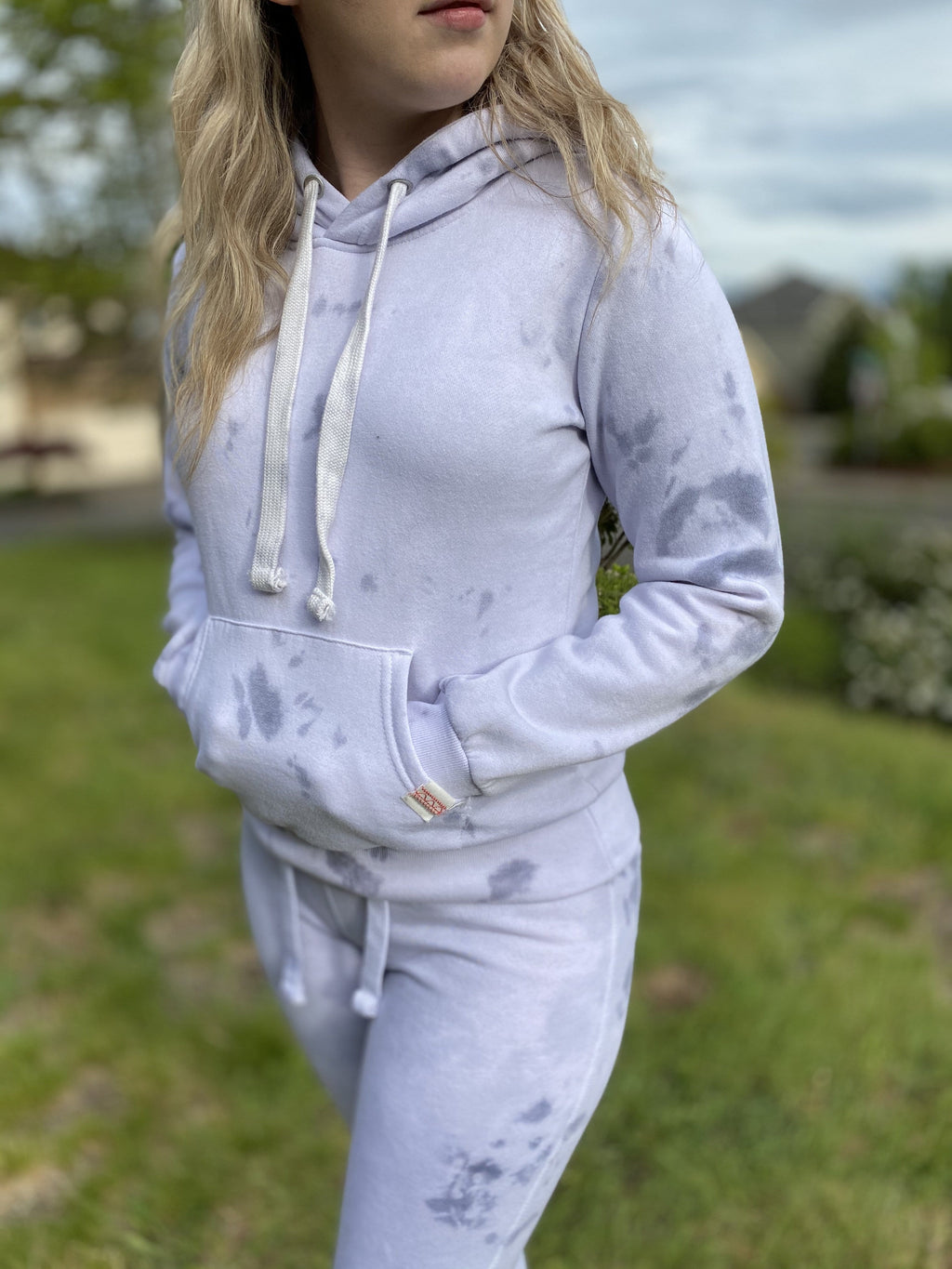 Live Cozy Joggers & Hoodie Set - Gray Marble Tie Dye