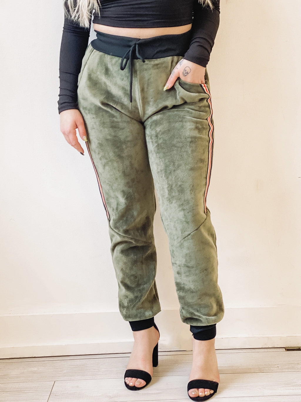 Living Lovely Velour Jogger - Olive