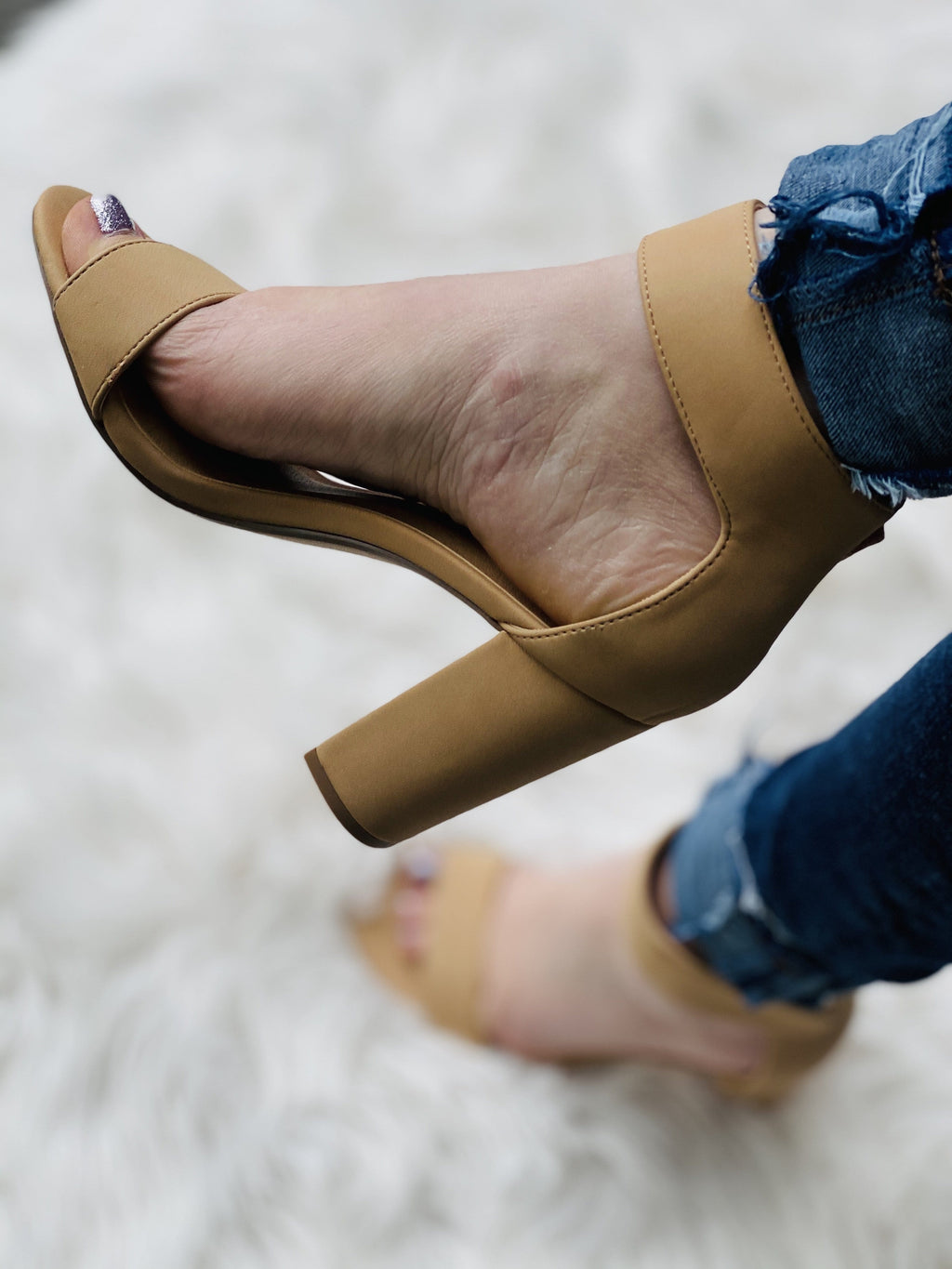 Open Toe Ankle Strap Chunky Heels - Nude