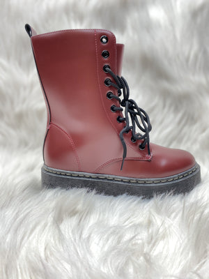 Lace Up Combat Boots - Wine