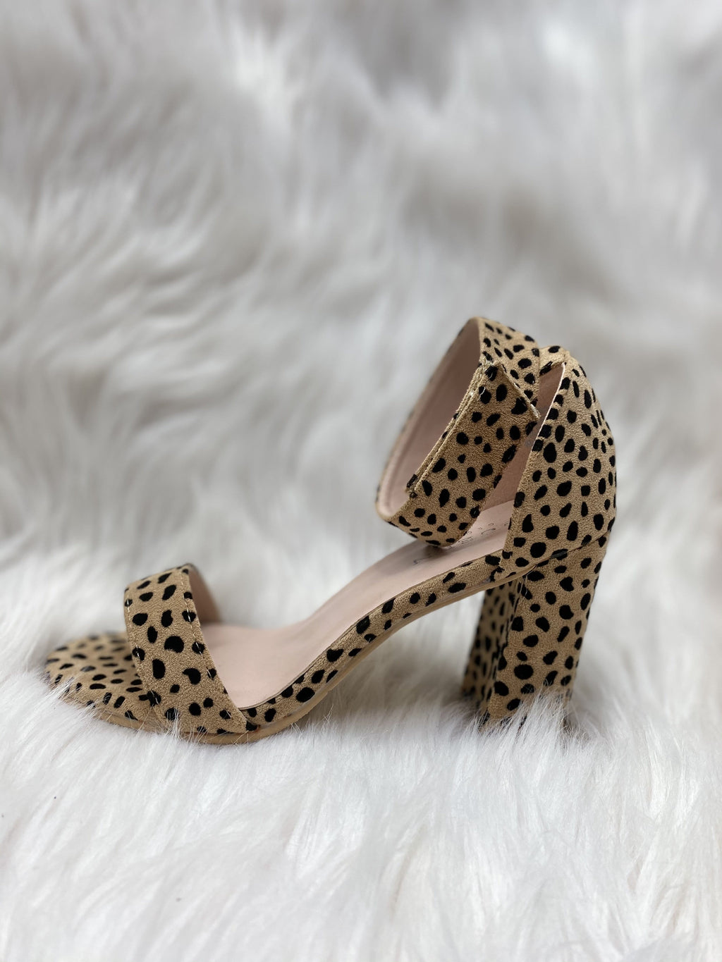 Open Toe Ankle Strap Chunky Heels - Nude Cheetah