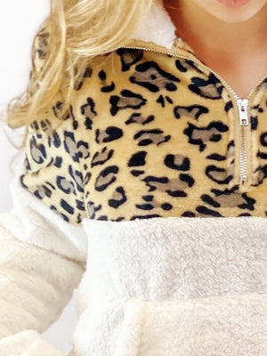 Leopard Fleece Pullover - Cream - bigcityboutique