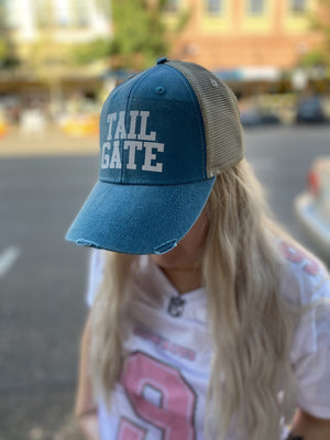 Football Hat - Tailgate - Turquoise with White Glitter