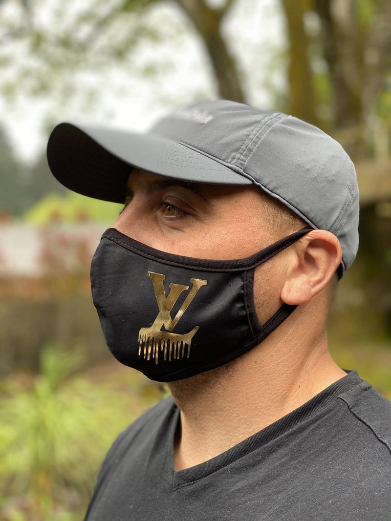 Washable & Reusable Mask - Gold LV Drip