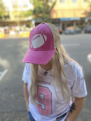 Football Hat - Pink with White Glitter