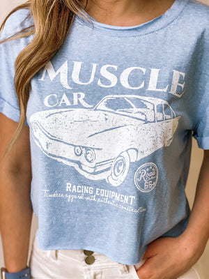 Muscle Car Graphic Crop Tee