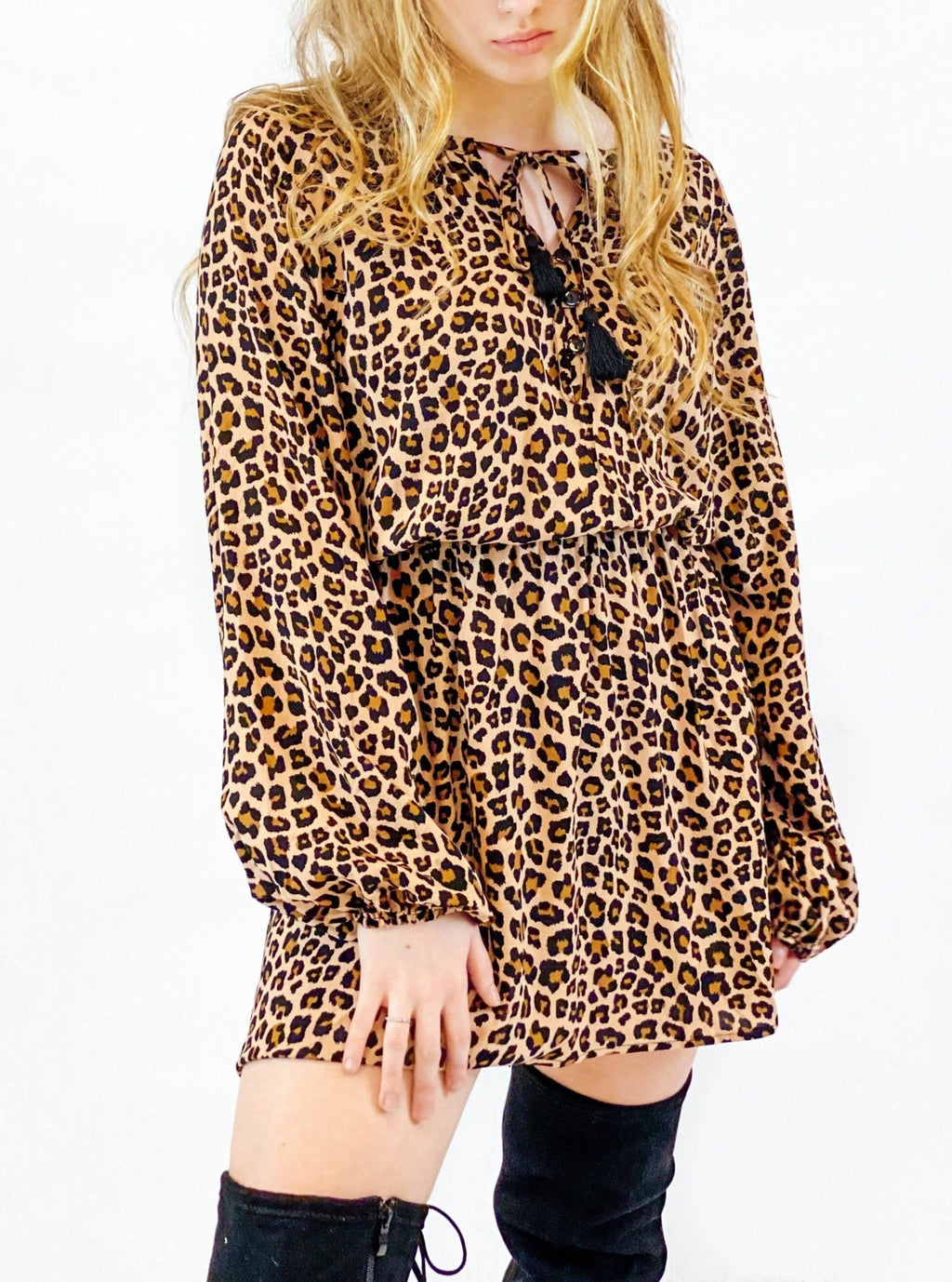 Leopard Tassel Mini Dress - bigcityboutique