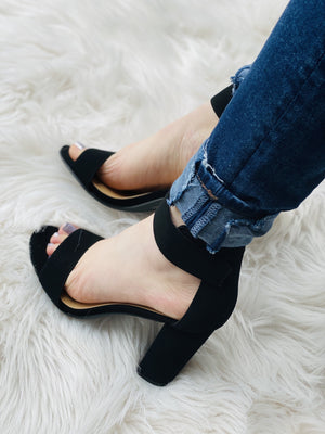 Open Toe Ankle Strap Chunky Heels - Black