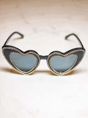 Rhinestone Heart Sunglasses - Black
