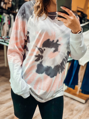 Chill With Me Sweatshirt - Gray & Coral Tie Dye