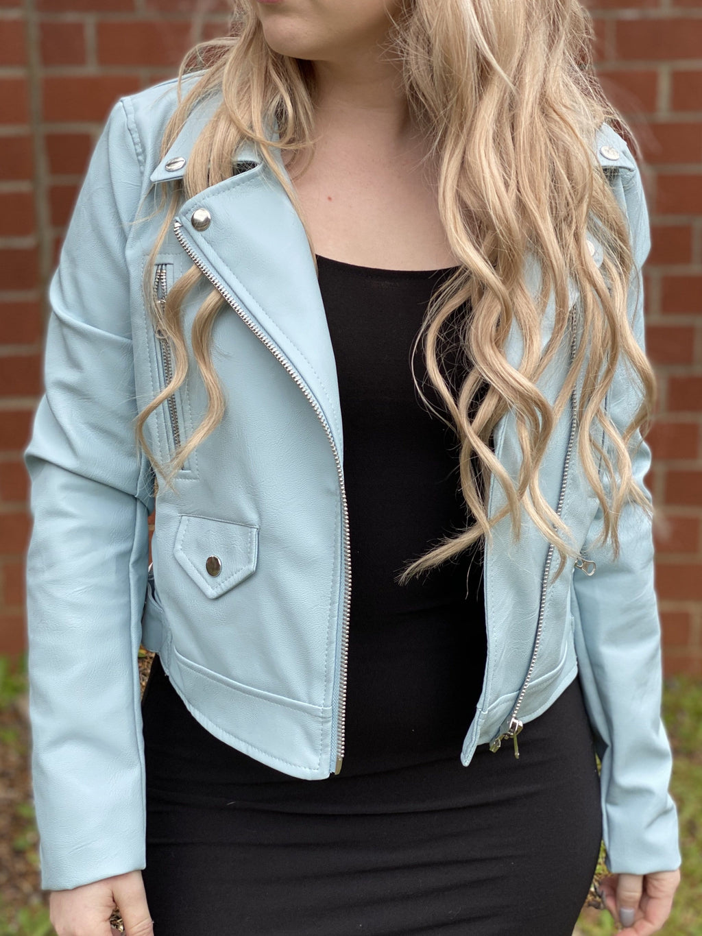 Let's Ride Vegan Biker Jacket - Tiffany Blue