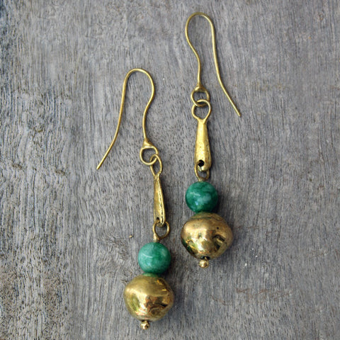 Brass Chrysocolla Earrings
