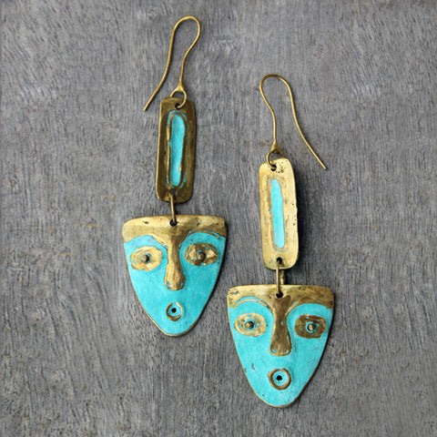 Brass Face Earrings