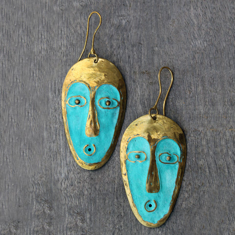 Brass Mask Earrings