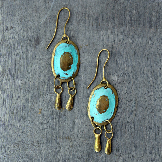 Brass Oval Earrings