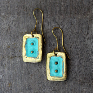 Brass Rectangular Earrings