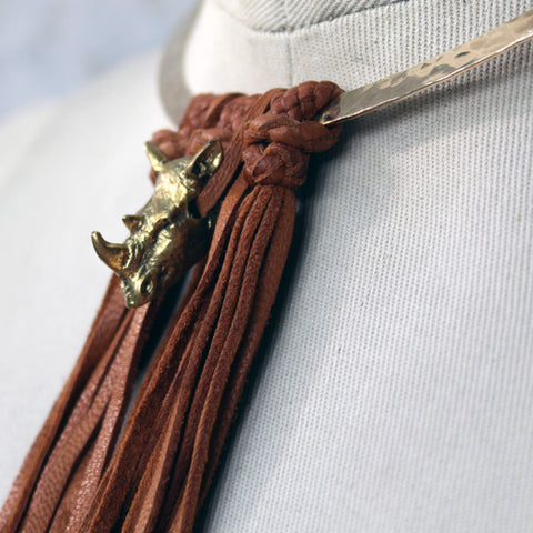 Rhino Leather & Brass Choker
