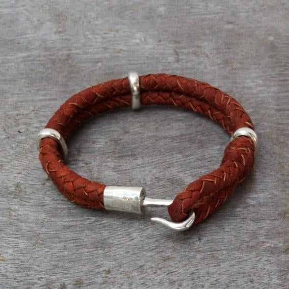 Hook Leather & Silver Bracelet
