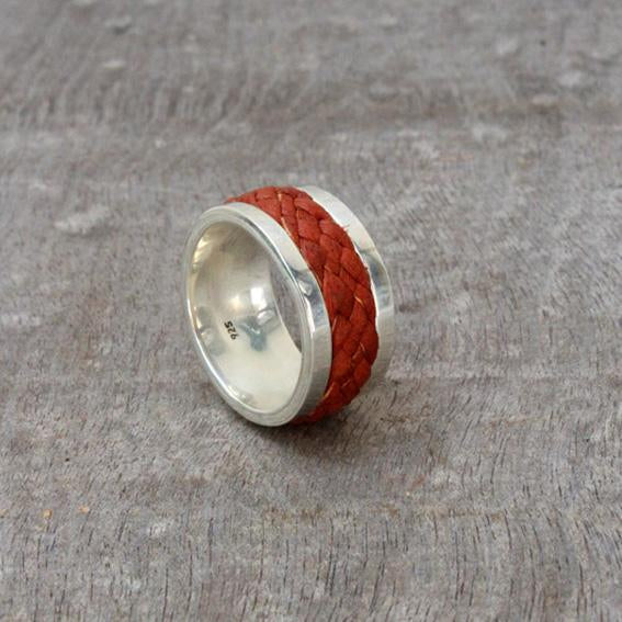 Silver & Leather Ring