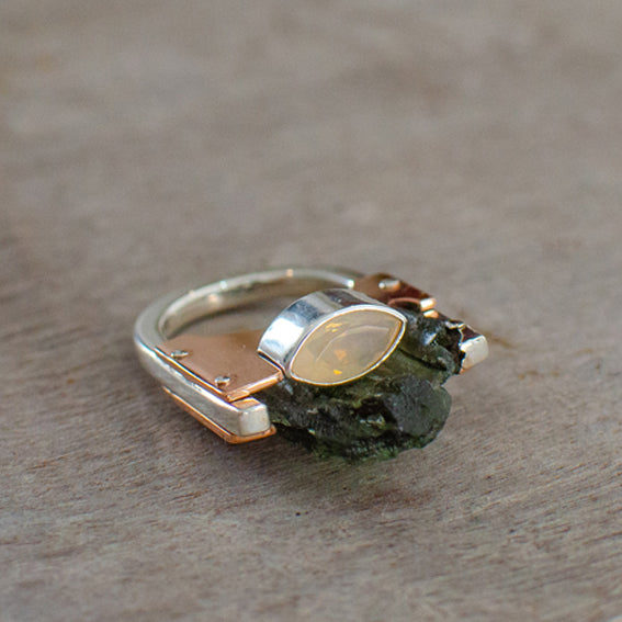 Silver & Copper Ring with Moldavite and Fire Opal