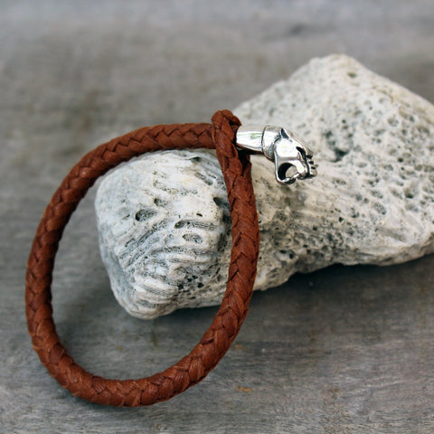 Panther Leather & Silver Bracelet