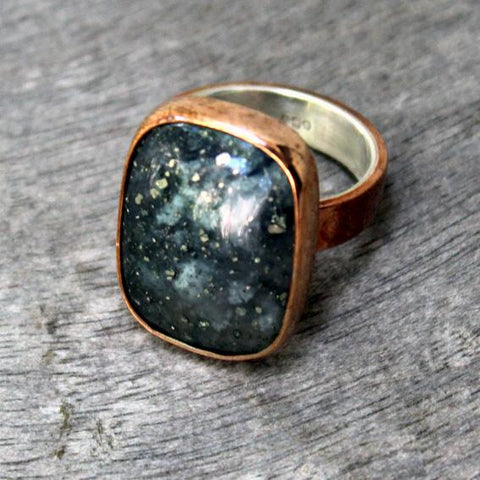 Copper Ring with Pyrite Agate