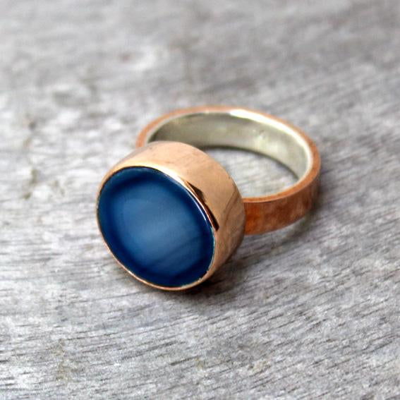 Copper Ring with Blue Agate