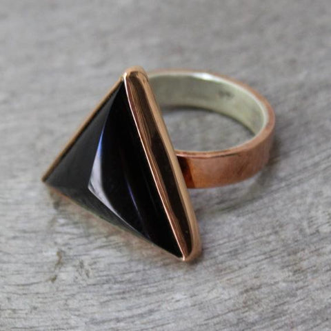 Copper Ring with Obsidian