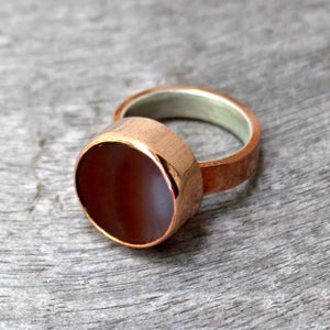 Copper Ring with Red Agate