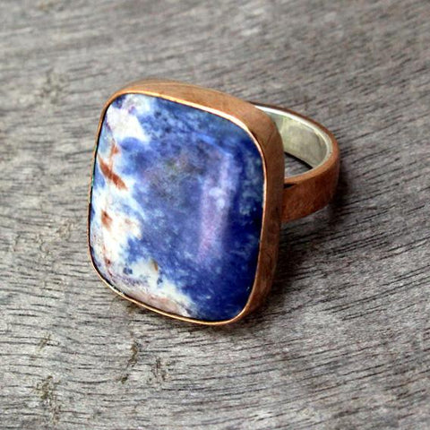 Copper Ring with Sodalite