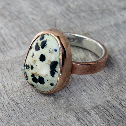 Copper Ring with Dalmatian Jasper