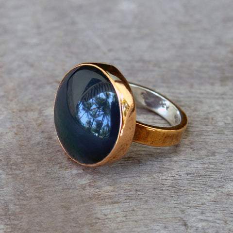 Copper Ring with Green Agate