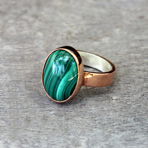 Copper Ring with Malachite