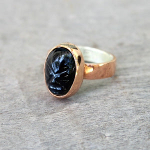 Copper Ring with Obsidian Mask.