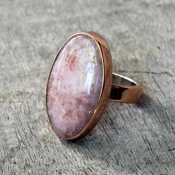 Copper Ring with Rhodochrosite